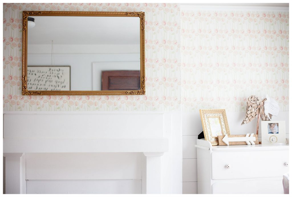 I begged Russ to add the shiplap because I thought a full wall may be too much but it was the perfect addition to the mantle in her room. Don't worry.