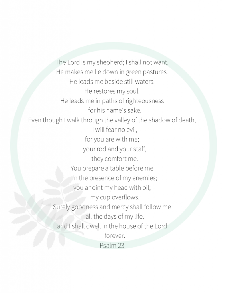 It's just an image of Psalm 23 Printable within scripture